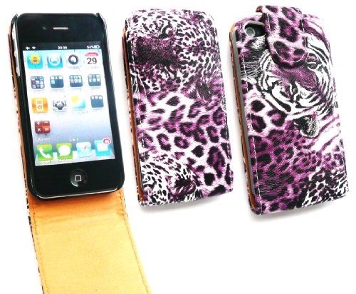 Emartbuy Apple Iphone 4 4G 4Gs 4S Premium Flip Case / Cover / Pouch Wildkatzen (Lila / Tan) Und Lcd Screen Protector