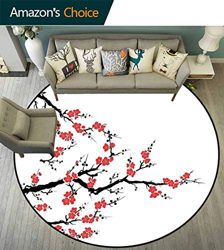 Japanese Round Rug Baby Room,Simplistic Cherry Blossom Tree Asian Botanic Themed Pattern Fresh Organic Lines Art Carpet for Children Home Decorate,Red Black,D-55