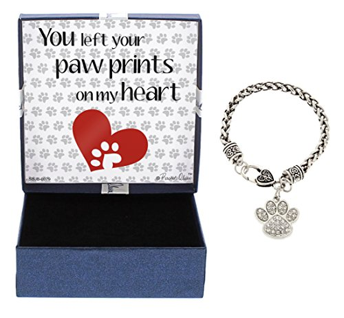 Paw Dog Jewelry (Rescue Dog Bracelet Rescue Cat Bracelet Bracelet Silver-Tone Crystal Adorned Paw Print Charm Bracelet Jewelry Box Keepsake Gift Dog Lover Gifts Bracelet Pet Dog Memorial Gift Cat Memorial Gift)