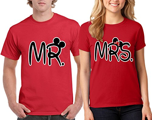 Mr. Mickey and Mrs. Minnie Design Couple Round Neck T-Shirt Popular Tee Shirt 1(Red-Red,Men-L/Women-M) (Mr And Mrs Mickey Mouse T Shirts)
