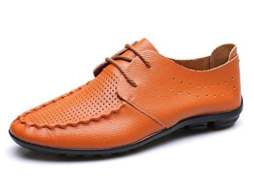 No.66 Ville Conduite Cuir Appartements Flâneurs Mocassins Chaussures Bateau Orange (lacets)