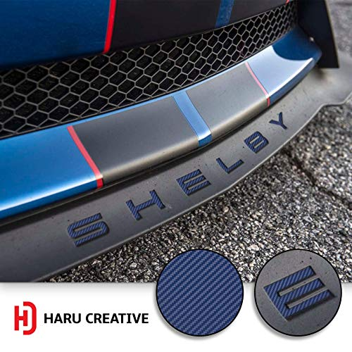 (Haru Creative - Front Splitter Lip Hood Grille Letter Insert Overlay Vinyl Decal Compatible with and Fits Mustang Shelby GT350 2015-2018 - Carbon Fiber Blue)