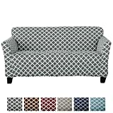 Home Fashion Designs Form Fit, Slip Resistant, Stylish Furniture Cover/Protector Featuring Lightweight Stretch Twill Fabric. Brenna Collection Basic Strapless Slipcover Brand. (Sofa, Charcoal)