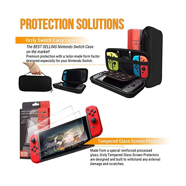 Switch Accessories Bundle - Orzly Geek Pack for Nintendo Switch: Case & Screen Protector, Joycon Grips & Racing Wheels… 4