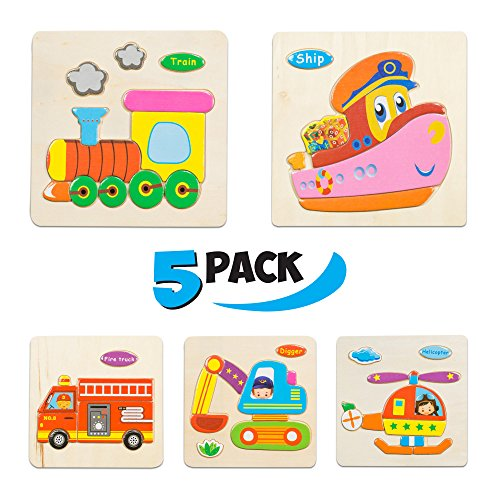 Wooden Puzzles for Toddlers - New set of 5 kids puzzles - Puzzles for Toddlers age 3+ Toddlers Puzzles for Boys and Girls - TRANSPORT set - Train - Helicopter - Fire truck - Ship - Digger - 2018 NEW (43 pcs)