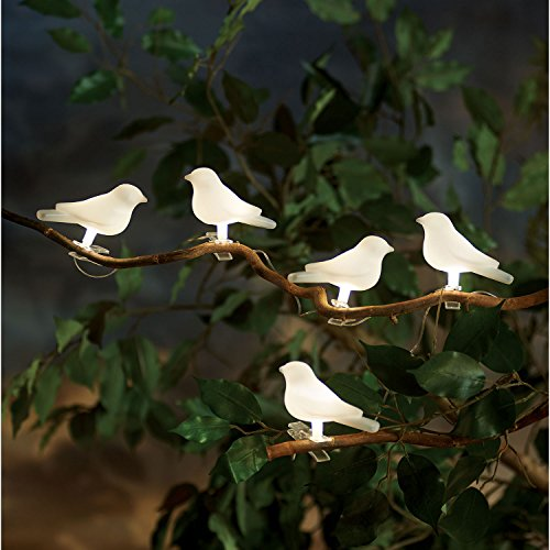 Art   Artifact Solar Powered Lighted Birds Light String   5 Birds On 10 Foot Strand