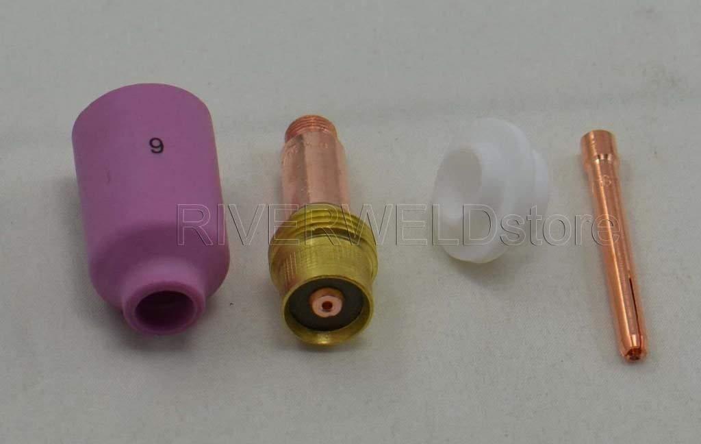 TIG Gas Lens Tama/ño Surtido 45V25 10N23 54N16 54N01 para WP17 WP18 WP26 TIG Soldadura Antorcha 4 piezas
