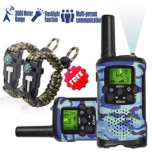 KidsWalkieTalkiesSet - Walkie Talkies for Kids 2 Way Radio Toy Birthday Gift for 4-8 Year Old Boys and Girls Fit Games, Adventure and Camping. Strap and Paracord Bracelet included.(Blue Camo)