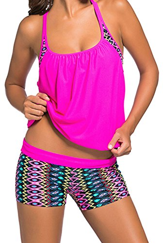 DH-MS Dress Women's Colorful Print Insert Padded Rosy 2pcs Tankini Swimsuit (Cute Toga Ideas)