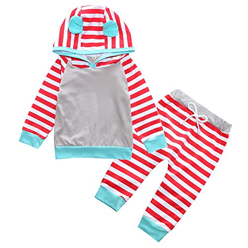 Baby Infant Girl Clothes Outfits 2 Pieces With Hoodie Top and Pants (Red, 3-6 (2 Piece Cotton Sweater)