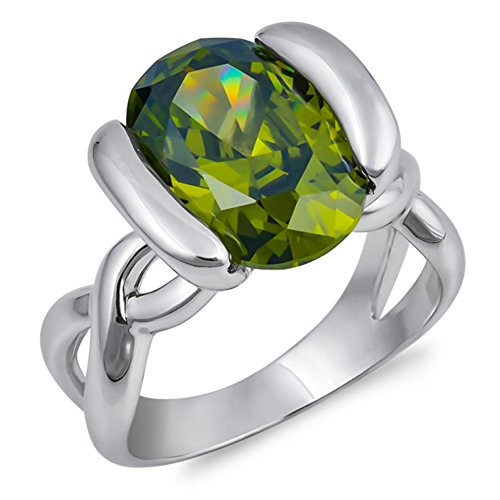 Oval Simulated Peridot Infinity Knot Ring New .925 Sterling Silver Band Sizes 6-10