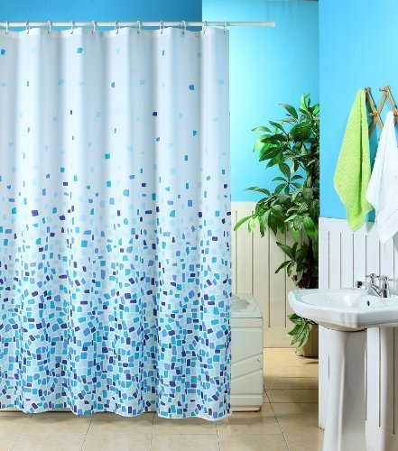 Blue Canyon MOSAIC PATTERNED POLYESTER 180 X 180CM SHOWER CURTAIN ...