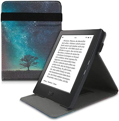 kwmobile Cover Compatible with Kobo Aura H2O Edition 1 – PU Leather e-Reader Case – Cosmic Nature Blue/Grey/Black