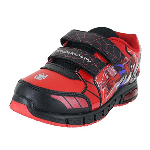 Spiderman Shoes For Kids (Ultimate Spiderman Little Boy's Light Up Red/Black Sneakers Shoes Sz: 12)