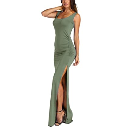 663bfde8dfe0 Women Elegant Sleeveless Ruched Side Summer Casual Beach Long Maxi High  Slit Tank Dress (Army