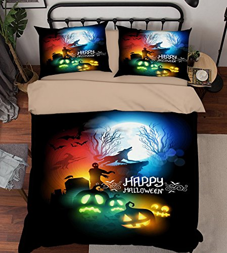 3D Zombie Witch Wolf Halloween 44 Bedding Pillowcases Quilt Duvet Cover Set Single Queen King | 3D Photo Bedding, AJ WALLPAPER US Summer (Twin) for $<!--$99.99-->