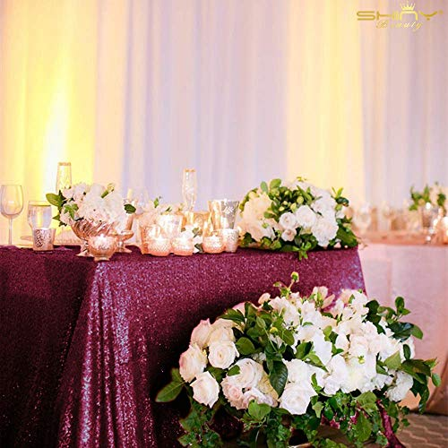 Beautiful Table Cloth Burgundy 60x102-Inch Rectangle Sequin Tablecloth Wine Table Cover Decorations for Weddings Party Baby Shower Decorations -0103S (Table Skirt Burgundy)