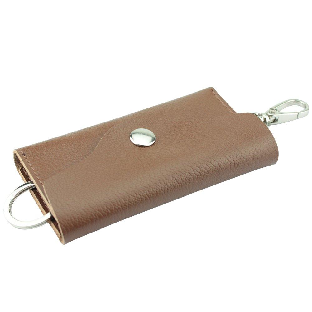 MuLier Cowhide Full Grain Leather Key Holder Wallet 6 Hooks/ Removable Car Key Ring Black KB0006-black