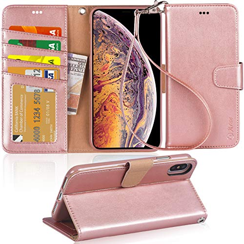 Arae Wallet Case for iPhone Xs Max PU Leather flip case Cover [Stand Feature] with Wrist Strap and [4-Slots] ID&Credit Cards Pocket for iPhone Xs Max 6.5 2018 (Not for iPhone Xs/Xr) - Rose Gold