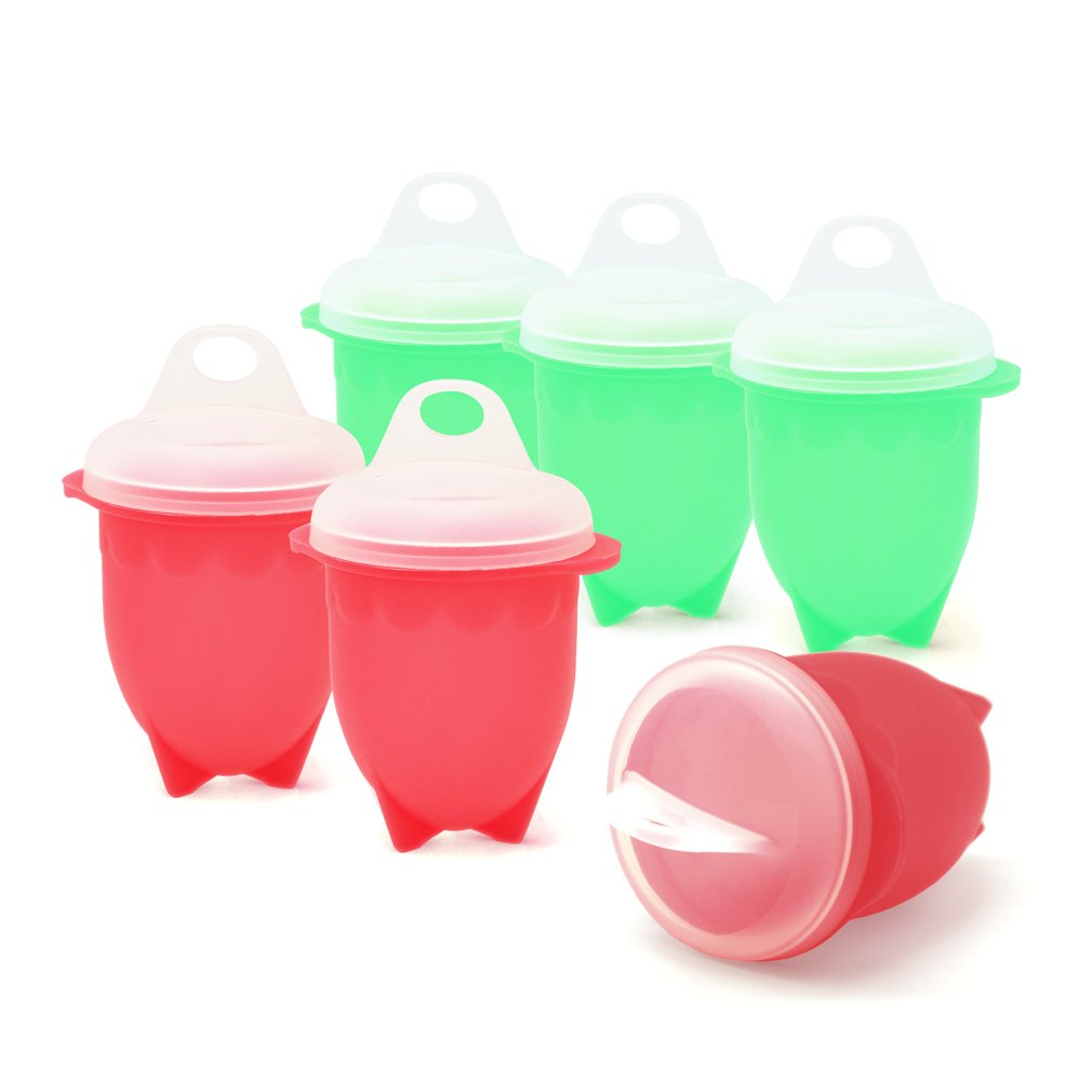 TCDBEST Egg Cooker 100% Silicone BPA Free for Hard Boiled Egg Without the Shell - Red & Green (Set of 6)