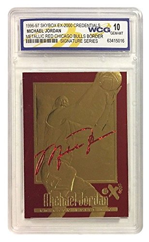 Merrick Mint Michael Jordan 1996-97 Credentials EX-2000 SIGNATURED 23KT Gold Card! Rare RED Border!