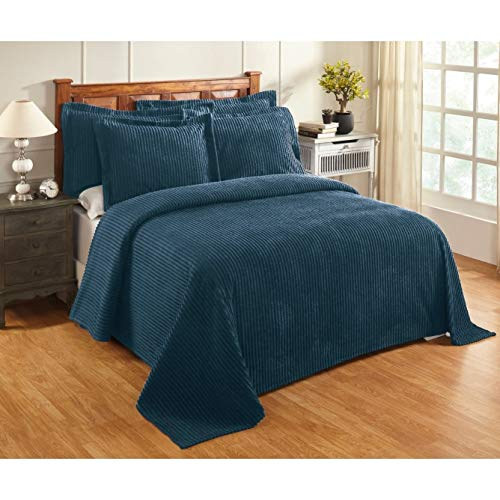 (MISC Oversized Teal Blue Chenille Bedspread King 120x110 Vintage Western Extra Long Bedding to The Floor Tufted Old Fashioned Traditional Antique Classic Gray Cotton, 1 Piece)