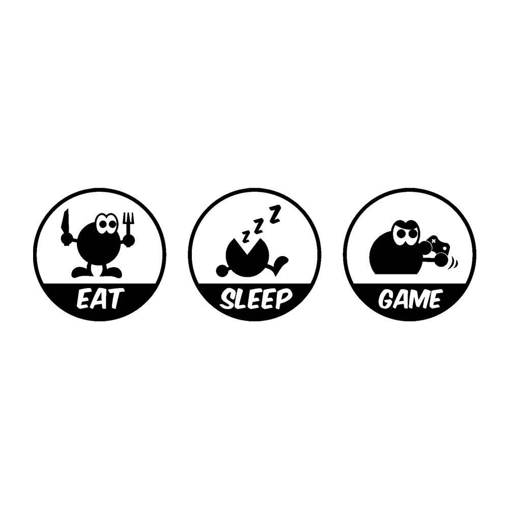 Hli-SHJHsmu Eat Sleep Game Removable Art Vinyl Mural Home Room Decor Wall Stickers