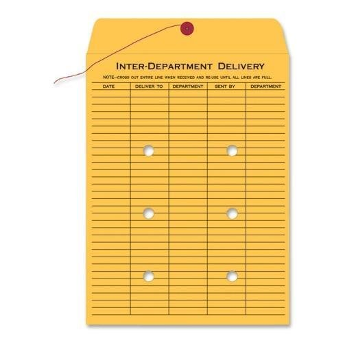 63563 Quality Park Standard Style Inter-Department Envelope - Interoffice - 10'' x 13'' - 28 lb - String/Button - Kraft - 100/Box - Kraft by Quality Park