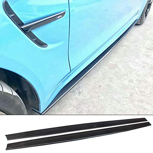 YOUC Carstyling 2 pcs 3D Style Carbon Fiber Side Extension Side Skirt Panels for BMW M3 F80 F82 M4 F83 2014+ ()