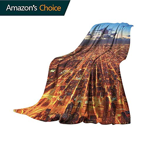 City Baby Blanket,Chicago Downtown Skyline Aerial Panorama View at Dusk with Skyscrapers Colorful Home Couch Outdoor Travel Use Blanket,70