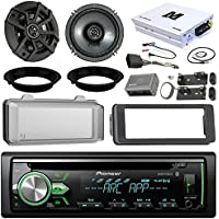 Pioneer DEH-X4900BT CD Receiver Bundle / 2 Kicker 6.5 Speaker + Motorcycle Speaker Adapters + Amplifier + Dash Kit W/ Radio Cover + Handle Bar Conrol for 98-2013 Harley Davidson + Enrock Antenna