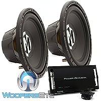 pkg (2) Memphis 15-SRX12S4 12 250W RMS 500W Max Subwoofer + Power Acoustik RZ1-1500D Monoblock 1500W Max Class D Amplifier