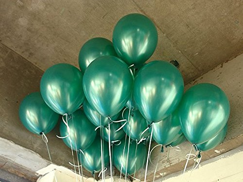 LOKMAN 12 Inch Ultra Thickness Dark Green Latex Metallic Balloons 100 Piece Per Unit (Dark Green)