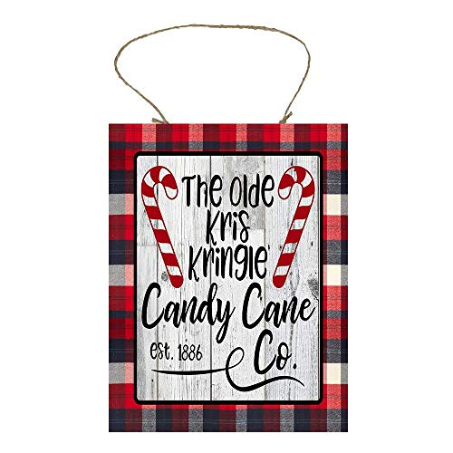 YANNN Red Plaid The Old Kris Kringle Candy Cane Co Printed Wood Sign Plaque - 6x12 inch