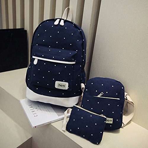 Three Blue Female Spots Backpack Prosperveil School Dark Cute Piece Korean Canvas xqCBXOH