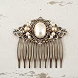 Vintage Victorian Style Bridal Hair Comb made with Swarovski Simulated Pearls and Antiqued Brass
