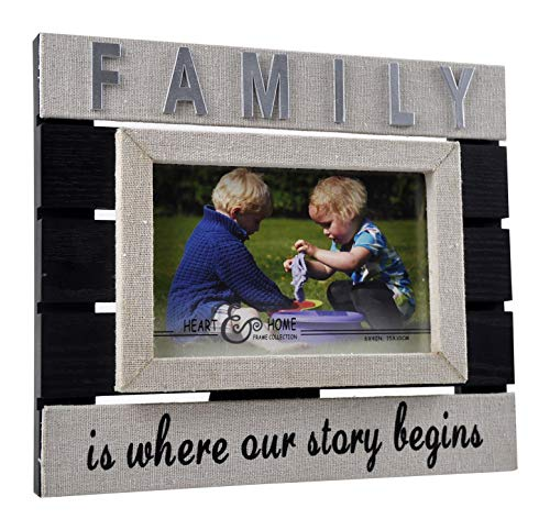 (Spiretro 4 x 6 inch Sentiments Memorial Monogram Family Picture Frame with Plexiglass, Linen Wrapped Wood Frame, Tabletop Display by Easel, Wall Hang Decor, Burlap & Black Photo)