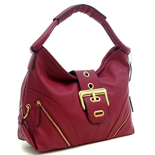 Buckle Large Hobo (Dasein Classic Large Buckle Hobo Shoulder Bag Handbag with Multi Pockets)