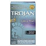 Trojan Ultra Thin Lubricated Latex Condom - 12 ea