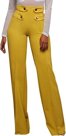 Pantalones Anchos Para Mujer Pantalones De Para Moda Cintura Damas Alta De Color Solido Pantalones Palazzo Boton Comodo Pantalon Casual Pantalones Color Amarillo Size Xl Amazon Es Ropa Y Accesorios