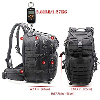 Outdoor Multi-functional Military Molle Tactical Backpack Shoulder Bug Bag Waterproof Small 30L Black Green for Men Youth Hiking Trekking Kit 3 Day Assault Army Rucksack Daypack Camo Laptop 17 Inch