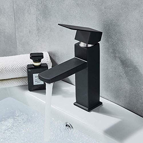 立体水栓 蛇口 ブラックデッキの取付け浴室の洗面台のミキサータップスクエアシングルハンドル盆地容器シンク蛇口ホット冷たい水の蛇口は、盆地のためのタップ 万能水栓 台付