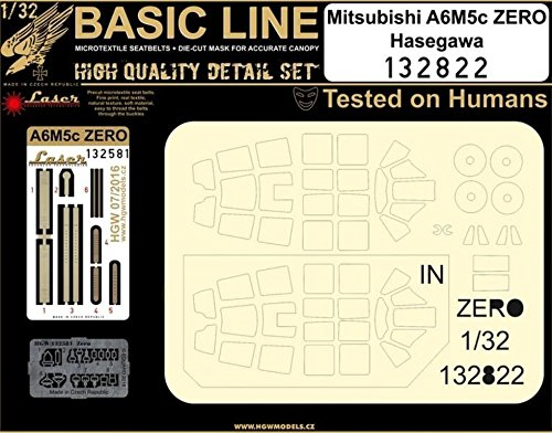 HGW 1:32 Basic Line Mitsubishi A6M5c Zero for Hasegawa - Detail & Mask #132822 ()