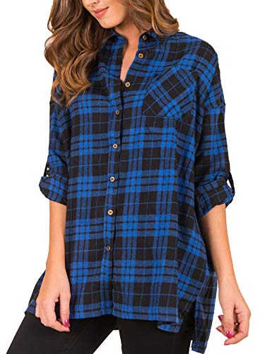 MISSLOOK Women's Plaid Button Down Shirts Roll-up Sleeve Blouses Tunics Loose Fit Tops with Pocket - Blue L