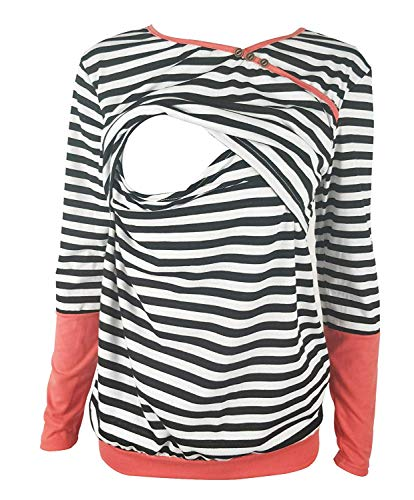 Chulianyouhuo Breastfeeding Shirt Striped Patchwork Long Sleeve Maternity Breastfeeding and Nursing Tops (S, Coral)