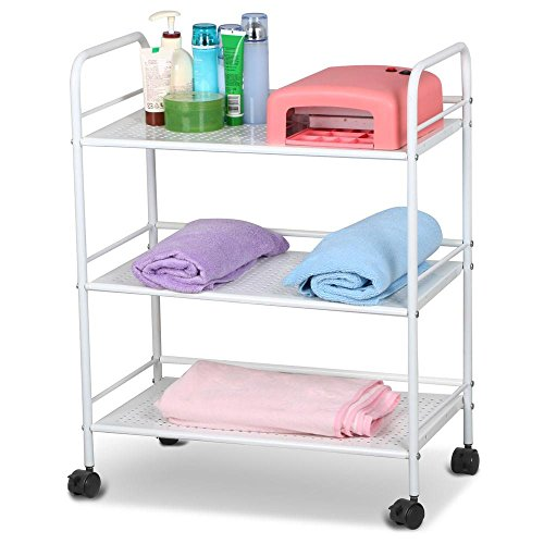 Yaheetech 3/4 Tier Salon Trolley Barber Cart Hair Rolling Cart 3/4 Layers Storage Tray Cart on Wheels Hairdressing Rolling Utility Storage Organizer Beauty SPA Tool Holder White (3 Tier)