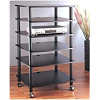 VTI AR406 6 Shelf Black Audio Rack - Silver / Black