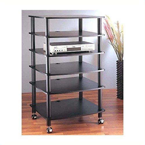VTI AR406 6 Shelf Black Audio Rack - Black / Cherry