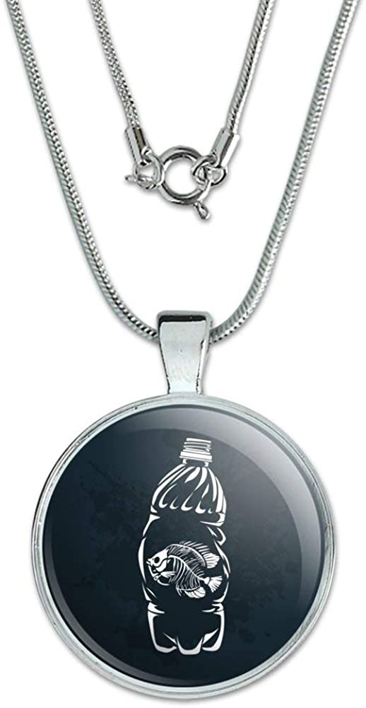 GRAPHICS /& MORE Dead Fish Bones in Plastic Bottle 1 Pendant with Sterling Silver Plated Chain