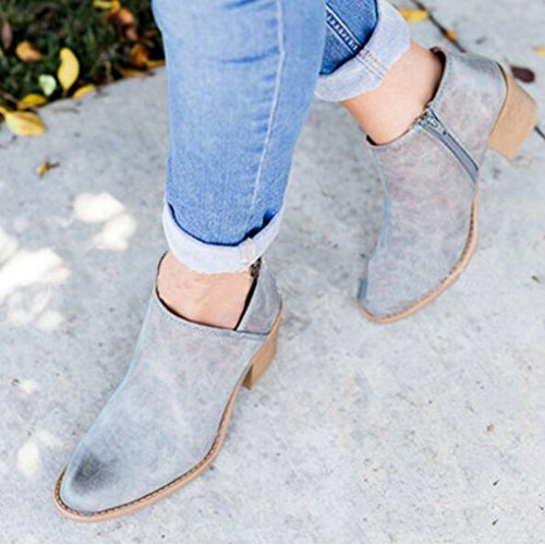 Bootie Boots Bottes Mode Boots Casual Bottines Talons L'Automne Femme Chaussure Minetom Cuir PU Chelsea Ankle Bleu Bloc zSwBqZ